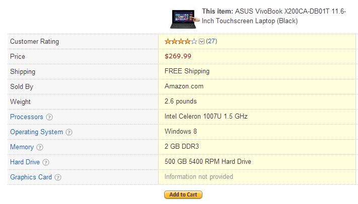 Buy ASUS VivoBook X200CA-DB01T