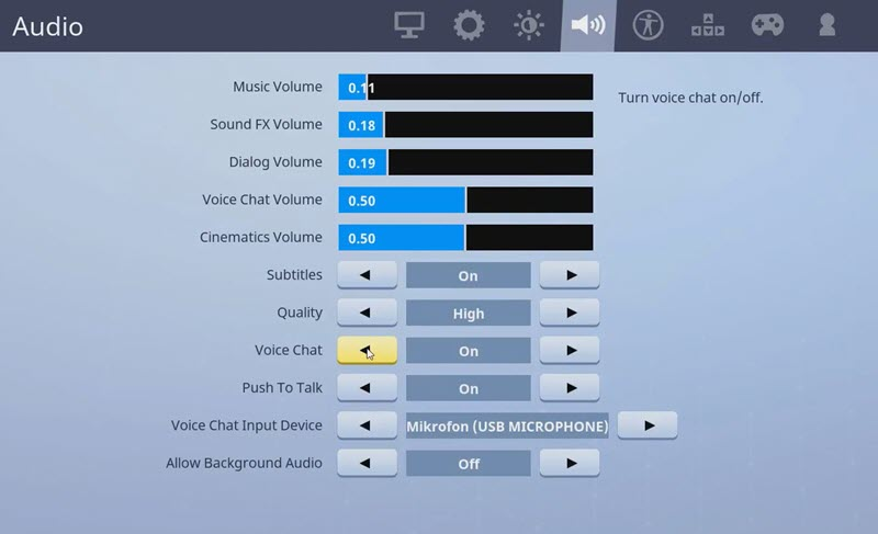 Sound Settings Of Fortnite