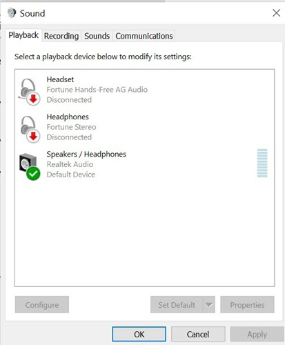 Windows 10 Audio Settings