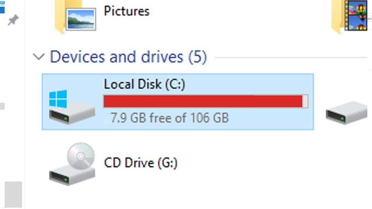Windows 10 Laptop Disk Full