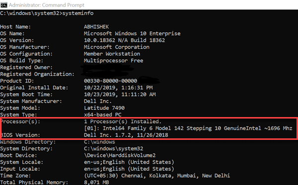 System Informatin In Command Prompt