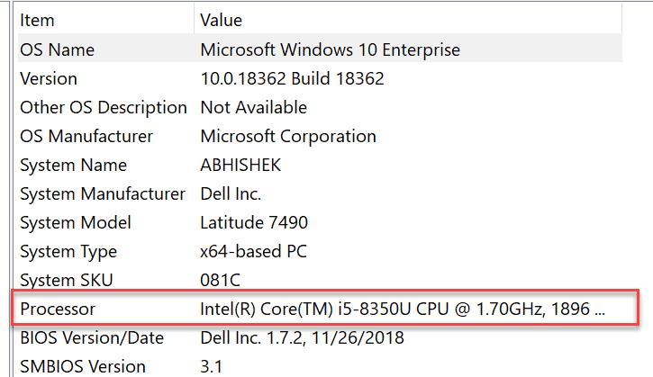 Msinfo32 CPU Details